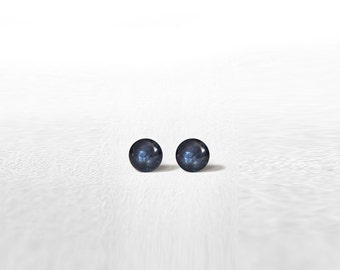 Stud Earrings Mini Tiny Metal Blue Shimmery 3 mm - Stainless Steel Gold Plated Posts plus High Quality Epoxy Resin Moon Line