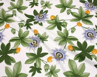 cotton fabric canvas  bleu passion flower passion fruit  Arvidssons Sweden