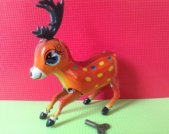 Vintage Tin Toy  jumping  Bambi  (official name), China