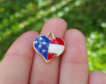 5 PIECES Heart USA Flag Charms, US flag charm, american flag charm, flag charm, patriotic charm B66992