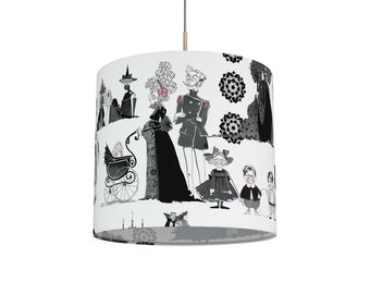 Botique Handmade Black and White  Lamp shade  Hanging Lamp Lamp Model Family in White Theme  Black and White