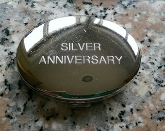"""Charming Vintage """"Silver Anniversary"""" Mirrored Compact"""