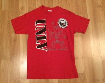 XL 90's UNLV Runnin' Rebels men's vintage T shirt red University of Nevada Las Vegas college basketball 1990's