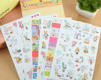 Cute Rabbit Stickers / Planner Stickers / Cute Stickers / Korean Stickers / Album Stickers / Scrapbook Stickers / Diary Stickers