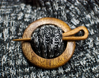 Wooden shawl pin