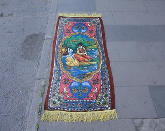 Vintage Turkish rayon wall hanging rug,home decor,tapestry,goblen,illustrated girl bathing in the river, 52'' x 26'' inches