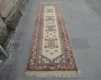 Runner rug,long rug,hand made wool rug ,Vintage Turkish rug, Turkish Vintage oushak wool rug,hallway runner rug,kitchen rug,116 x 35 inches