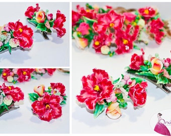 Hibiscus clips, hibiscus hair clips, hibiscus hair accessory, pink hibiscus, flower hair clips, floral hair clips, polymer clay flower clips