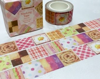 square pattern washi masking tape 10M x 2 CM cute square cookie waffle egg and bread sandwich sticker patchwork gingham check pattern label