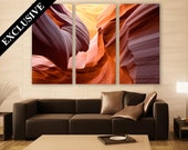 Arizona Canyon Canvas Art 3 Panel Print Wall Decor Wall Art Abstract Art Gorge Rock Photography Print for Home and Office Wall Decoration