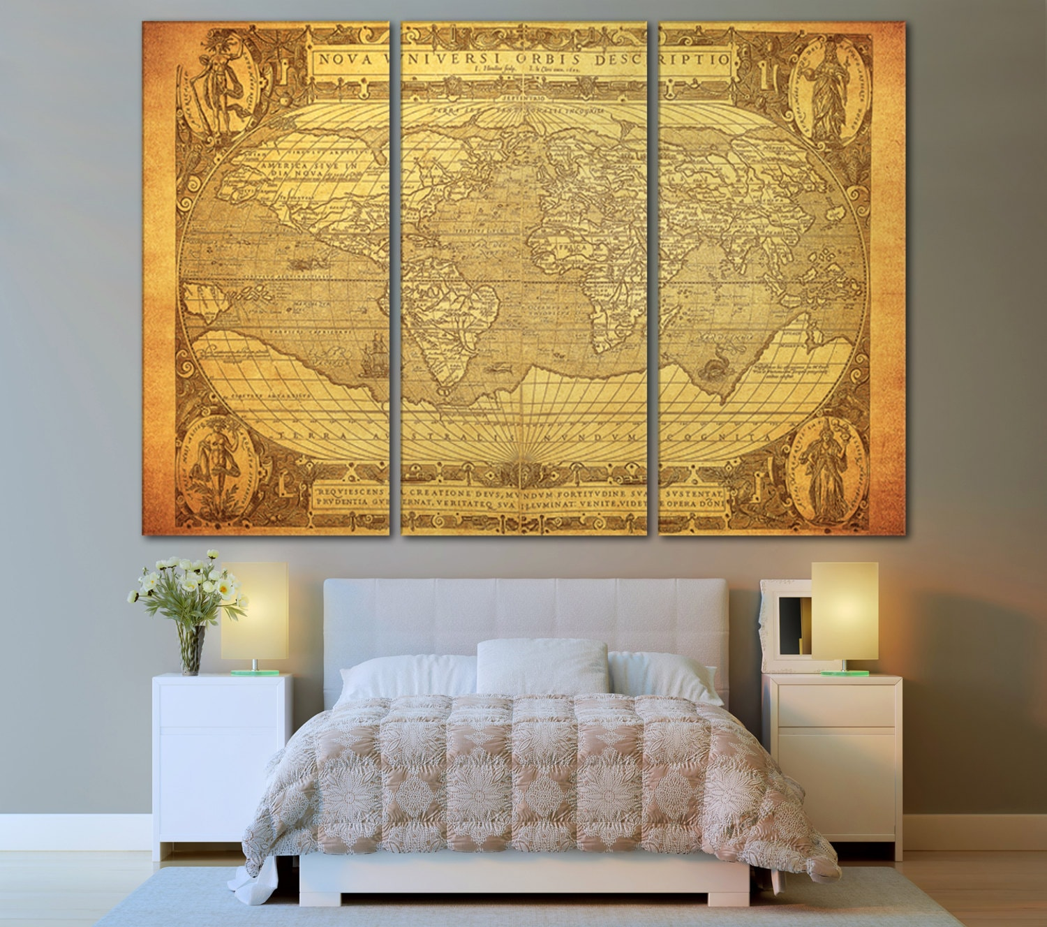 large wall art world map canvas print large world by zellartco. Black Bedroom Furniture Sets. Home Design Ideas