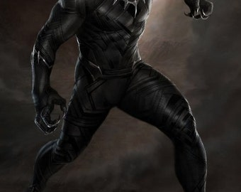 Black Panther Giclee Print Movie Poster FREE SHIPPING
