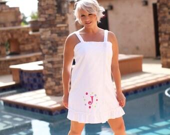 Sassy Towel Wrap with personalized polka dot border, personalized towel wrap, spa wrap, custom made towel wrap, bath towel