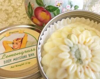 Organic Lemongrass Lotion Bar / Natural Lotion Bar / Solid Lotion / Shea Butter / Beeswax - 1 bar w/Tin
