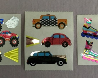 Vintage Mylar Cars, Trucks and Roller Blade Stickers