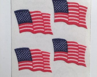 Fuzzy American Flag Stickers