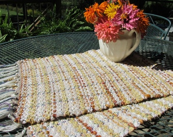 Rag runner, rag rug, hand loomed, weaving, maize, tan, ecru, rust, dresser scarf, hand woven, fall decor, autumn