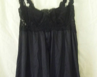 Vintage black lace top slip with empire waist