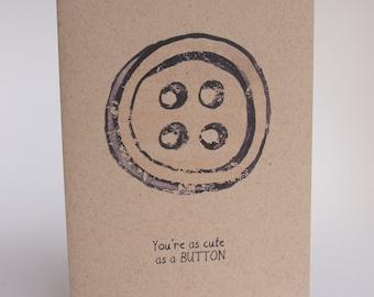 Greeting Card - cute as a button