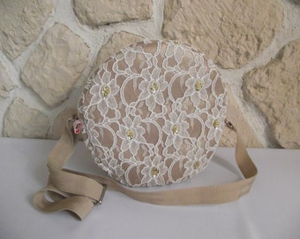 Shoulder bag round faux gold and ivory lace Pearl