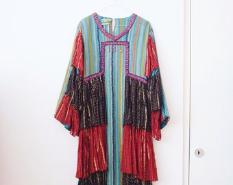 Vintage indian afghan bohemian hippie maxi dress S/M