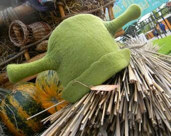 Shrek hat made of felt for baths, saunas, hammam