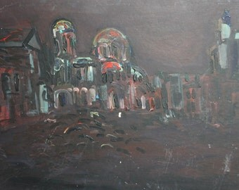 Expressionist oil painting cityscape
