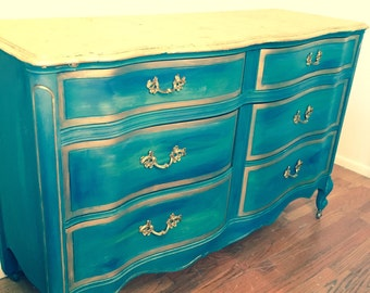 Hand Painted French Provincial Long Dresser