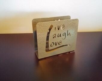 "Gray ""Live Laugh Love"" napkin holder"