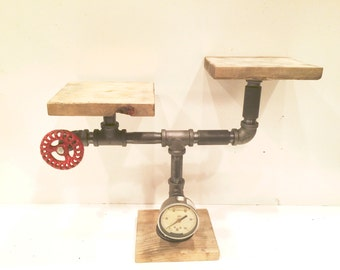 Free Standing Urban Iron Pipe Two Tier shelf with Gauge & Vintage Red Faucet Handle
