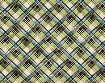SALE Denyse Schmidt - Ansonia - Corner Plaid in mossy green blue brownk quilting cotton freespirit