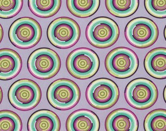 Tula Pink - Chipper - The Hypnotizer in Raspberry -pink purple green circles  cotton fabric flowers quilting cotton freespirit westminster