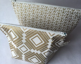 Metallic Gold Zipper Pouch Set - Travel Toiletry Bag Set