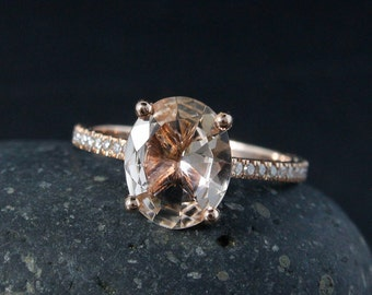 Oval Pink Morganite Engagement Ring – White Diamond Band