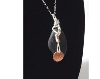 Sterling Silver, Copper and Rare Olive Green Sea Glass Pendant Necklace