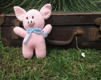 Hand Knitted Little Pink Pig