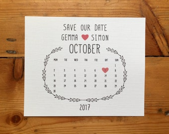 Calendar save the date - Rustic, cheap save the date