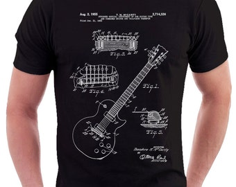Gibson Guitar Patent Print T Shirt, Patent Prints, Patent Art, T Shirt Vintage, Blueprint Art