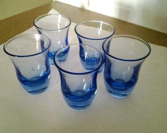 Blue Glass Shot - Liquior Glasses - Five