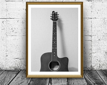Guitar Print, Musical Instrument Poster, Music Photo, Classical Guitar Print, Black And White Home Decor, Musician Wall Art