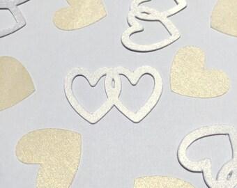 Wedding confetti. Wedding Shower confetti. Bridal shower confetti. Heart confetti. Gold Confetti. Table scatter confetti. Party confetti.