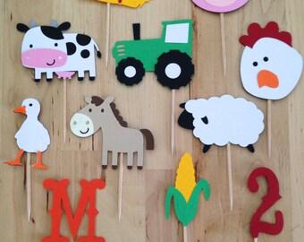 Farm Cupcake Toppers - Farm Birthday - Boy Birthday - Barnyard - Farm Friends - Farm Party - Farm Theme - County Fair Party