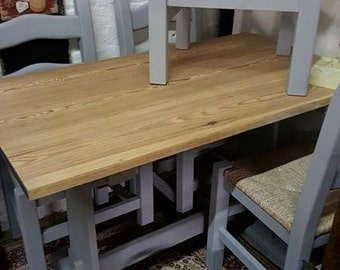painted pine table and 4 chairs in French Grey
