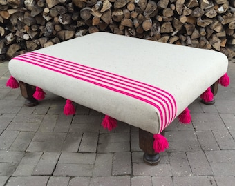 Medium Moroccan Boho Pom Pom Tassel Hot Pink Stripe Blanket Bespoke Custom Footstool Ottoman Made to Order