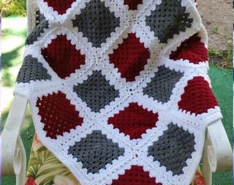 Hand Crocheted Alabama Granny Square Throw