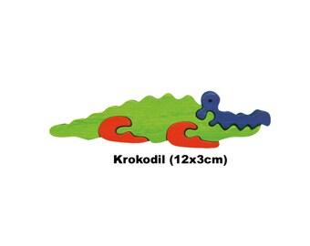 Mini Puzzle Crocodile / Handmade / Animals / Wooden toys / Zoo / Africa / Waldorf / Montessori