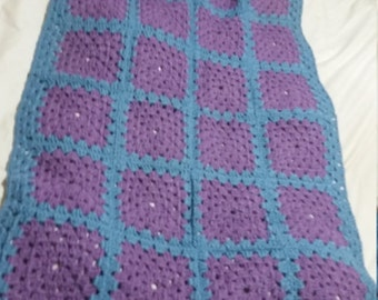 Dusky Purple & Slate Blue Crocheted Baby Blanket