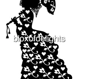 Lady with floral dress SVG Instant Digital download.