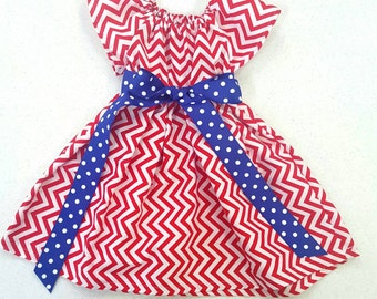 Girls red white and blue patriotic dress