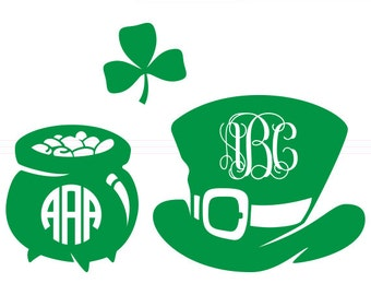 St. Patrick's Day SVG Monogram Frames instant download cut file - svg, studio3, dxf, eps - Shamrock Cutting Files for Cricut, Silhouette